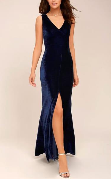 Crushin' It Navy Blue Velvet Maxi Dress