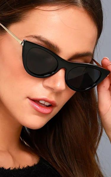 92404f3dbd1 Le Specs Enchantress Black Cat-Eye Sunglasses - BestFashionHQ.com