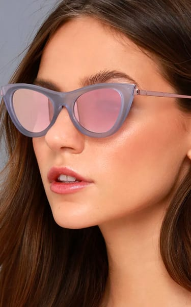6dde0bcc04 Le Specs Enchantress Matte Blue and Pink Mirrored Cat-Eye Sunglasses ...