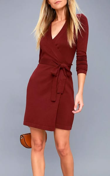 Literary Lover Burgundy Wrap Sweater Dress - Best Fashion HQ