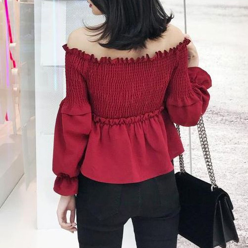 80fa6e87a8 Cherry Red Survenir - Long-Sleeve Ruffled Off Shoulder Top ...