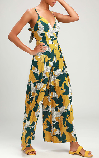 3f0454df448 Isla Mujeres Yellow Tropical Print Tie-Back Jumpsuit