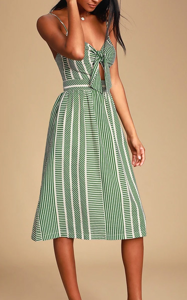 LUSH World Wonder Blue Striped Tie-Front Midi Dress
